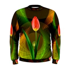 Tulip Flower Background Nebulous Men s Sweatshirt