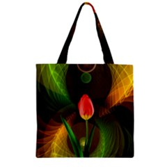 Tulip Flower Background Nebulous Zipper Grocery Tote Bag by Nexatart
