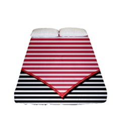 Heart Stripes Symbol Striped Fitted Sheet (full/ Double Size) by Nexatart