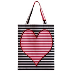 Heart Stripes Symbol Striped Zipper Classic Tote Bag by Nexatart