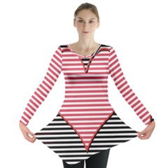 Heart Stripes Symbol Striped Long Sleeve Tunic
