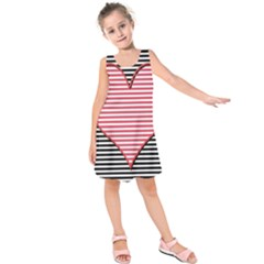 Heart Stripes Symbol Striped Kids  Sleeveless Dress