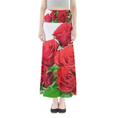 A Bouquet Of Roses On A White Background Maxi Skirts by Nexatart