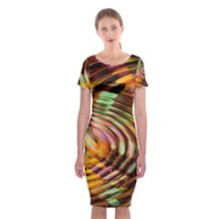Wave Rings Circle Abstract Classic Short Sleeve Midi Dress