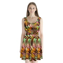 Wave Rings Circle Abstract Split Back Mini Dress  by Nexatart