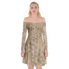 Parchment Paper Old Leaves Leaf Off Shoulder Skater Dress