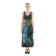 Background Forest Trees Nature Sleeveless Maxi Dress