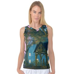 Background Forest Trees Nature Women s Basketball Tank Top
