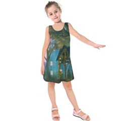 Background Forest Trees Nature Kids  Sleeveless Dress by Nexatart