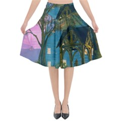 Background Forest Trees Nature Flared Midi Skirt