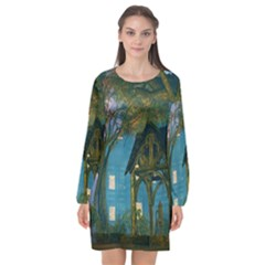 Background Forest Trees Nature Long Sleeve Chiffon Shift Dress