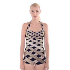 Texture Wood Flooring Brown Macro Boyleg Halter Swimsuit