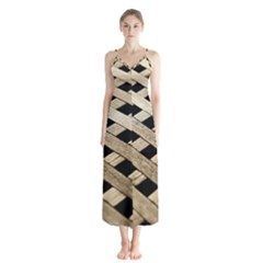 Texture Wood Flooring Brown Macro Button Up Chiffon Maxi Dress