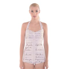 German French Lecture Writing Boyleg Halter Swimsuit
