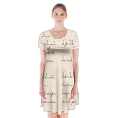 German French Lecture Writing Short Sleeve V Neck Flare Dress