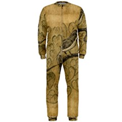 Birds Figure Old Brown Onepiece Jumpsuit (men)  by Nexatart