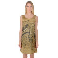 Birds Figure Old Brown Sleeveless Satin Nightdress by Nexatart
