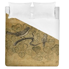Birds Figure Old Brown Duvet Cover (queen Size) by Nexatart