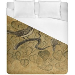 Birds Figure Old Brown Duvet Cover (california King Size) by Nexatart