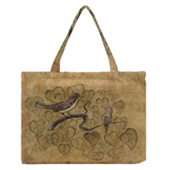 Birds Figure Old Brown Medium Zipper Tote Bag