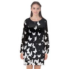 Butterfly Pattern Long Sleeve Chiffon Shift Dress  by Valentinaart