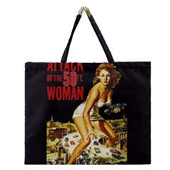Attack Of The 50 Ft Woman Zipper Large Tote Bag by Valentinaart