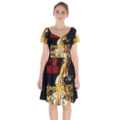 Attack Of The 50 Ft Woman Short Sleeve Bardot Dress