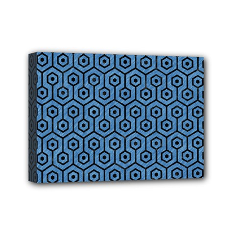 Hexagon1 Black Marble & Blue Colored Pencil (r) Mini Canvas 7  X 5  (stretched) by trendistuff