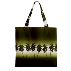 Tropical Sunset Zipper Grocery Tote Bag by Valentinaart