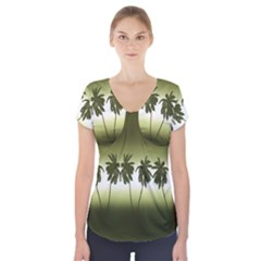 Tropical Sunset Short Sleeve Front Detail Top
