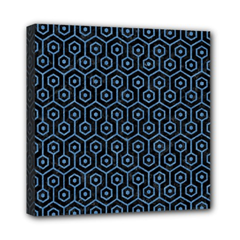 Hexagon1 Black Marble & Blue Colored Pencil Mini Canvas 8  X 8  (stretched) by trendistuff