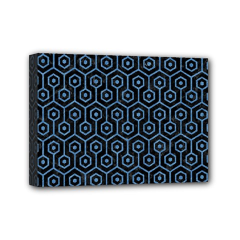 Hexagon1 Black Marble & Blue Colored Pencil Mini Canvas 7  X 5  (stretched) by trendistuff