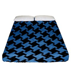 Houndstooth2 Black Marble & Blue Colored Pencil Fitted Sheet (queen Size) by trendistuff