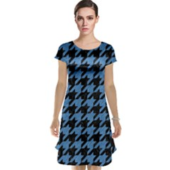 Houndstooth1 Black Marble & Blue Colored Pencil Cap Sleeve Nightdress