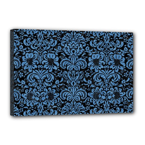 Damask2 Black Marble & Blue Colored Pencil Canvas 18  X 12  (stretched) by trendistuff
