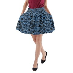 Damask2 Black Marble & Blue Colored Pencil A Line Pocket Skirt by trendistuff