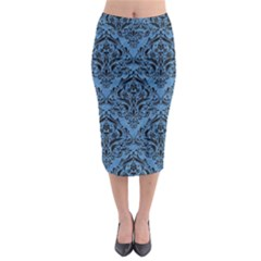 Damask1 Black Marble & Blue Colored Pencil (r) Midi Pencil Skirt by trendistuff