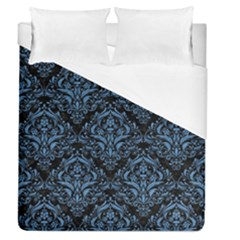 Damask1 Black Marble & Blue Colored Pencil Duvet Cover (queen Size) by trendistuff