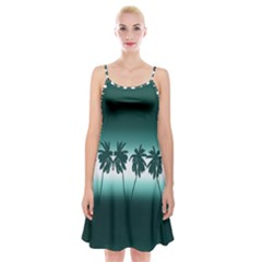 Tropical Sunset Spaghetti Strap Velvet Dress