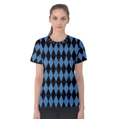 Diamond1 Black Marble & Blue Colored Pencil Women s Cotton Tee by trendistuff