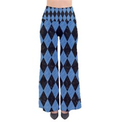 Diamond1 Black Marble & Blue Colored Pencil So Vintage Palazzo Pants