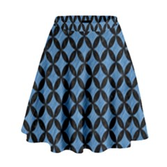 Circles3 Black Marble & Blue Colored Pencil (r) High Waist Skirt by trendistuff