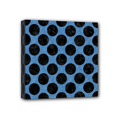 CIRCLES2 BLACK MARBLE & BLUE COLORED PENCIL (R) Mini Canvas 4  x 4  (Stretched)