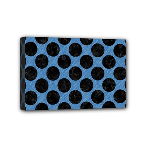 CIRCLES2 BLACK MARBLE & BLUE COLORED PENCIL (R) Mini Canvas 6  x 4  (Stretched)