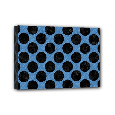 CIRCLES2 BLACK MARBLE & BLUE COLORED PENCIL (R) Mini Canvas 7  x 5  (Stretched)