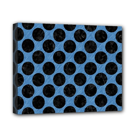 CIRCLES2 BLACK MARBLE & BLUE COLORED PENCIL (R) Canvas 10  x 8  (Stretched)