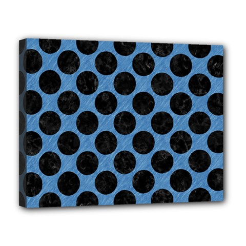 CIRCLES2 BLACK MARBLE & BLUE COLORED PENCIL (R) Canvas 14  x 11  (Stretched)
