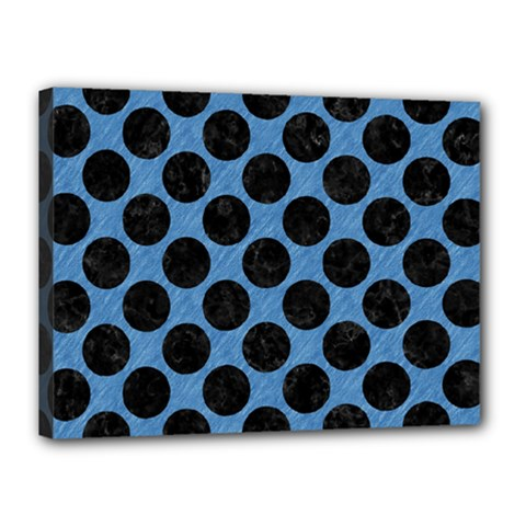CIRCLES2 BLACK MARBLE & BLUE COLORED PENCIL (R) Canvas 16  x 12  (Stretched)
