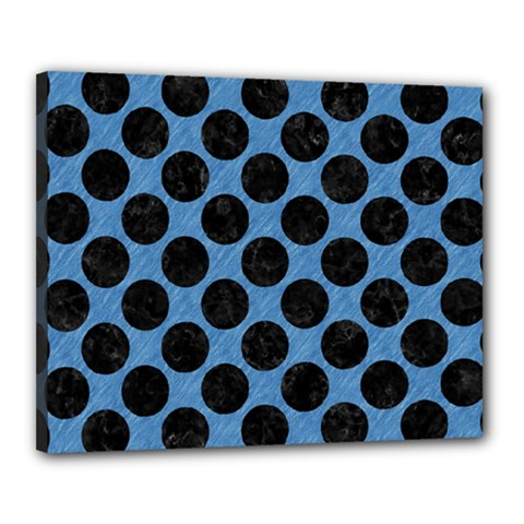 CIRCLES2 BLACK MARBLE & BLUE COLORED PENCIL (R) Canvas 20  x 16  (Stretched)
