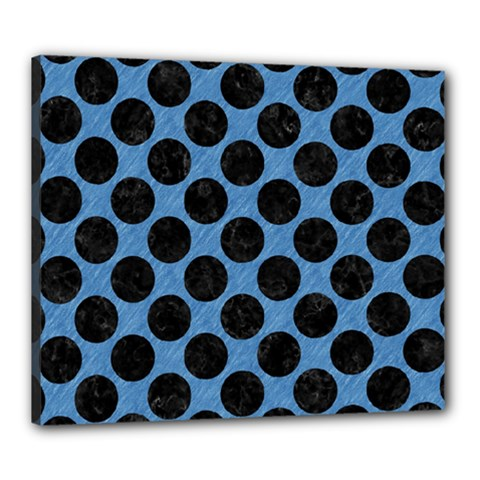 CIRCLES2 BLACK MARBLE & BLUE COLORED PENCIL (R) Canvas 24  x 20  (Stretched)